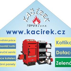 Výřez z grafického návrhu na firemní štít pro Kačírek - topení s.r.o.