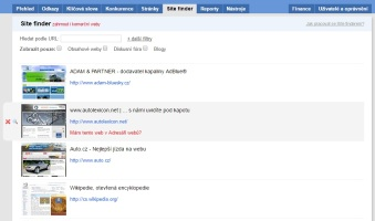 Ukázka spřátelených webů v nástroji Collabim