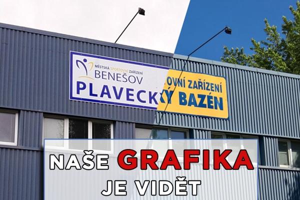 Součástí sjednocení firemní identity MSZ Benešov je i cedule na plaveckém bazénu.