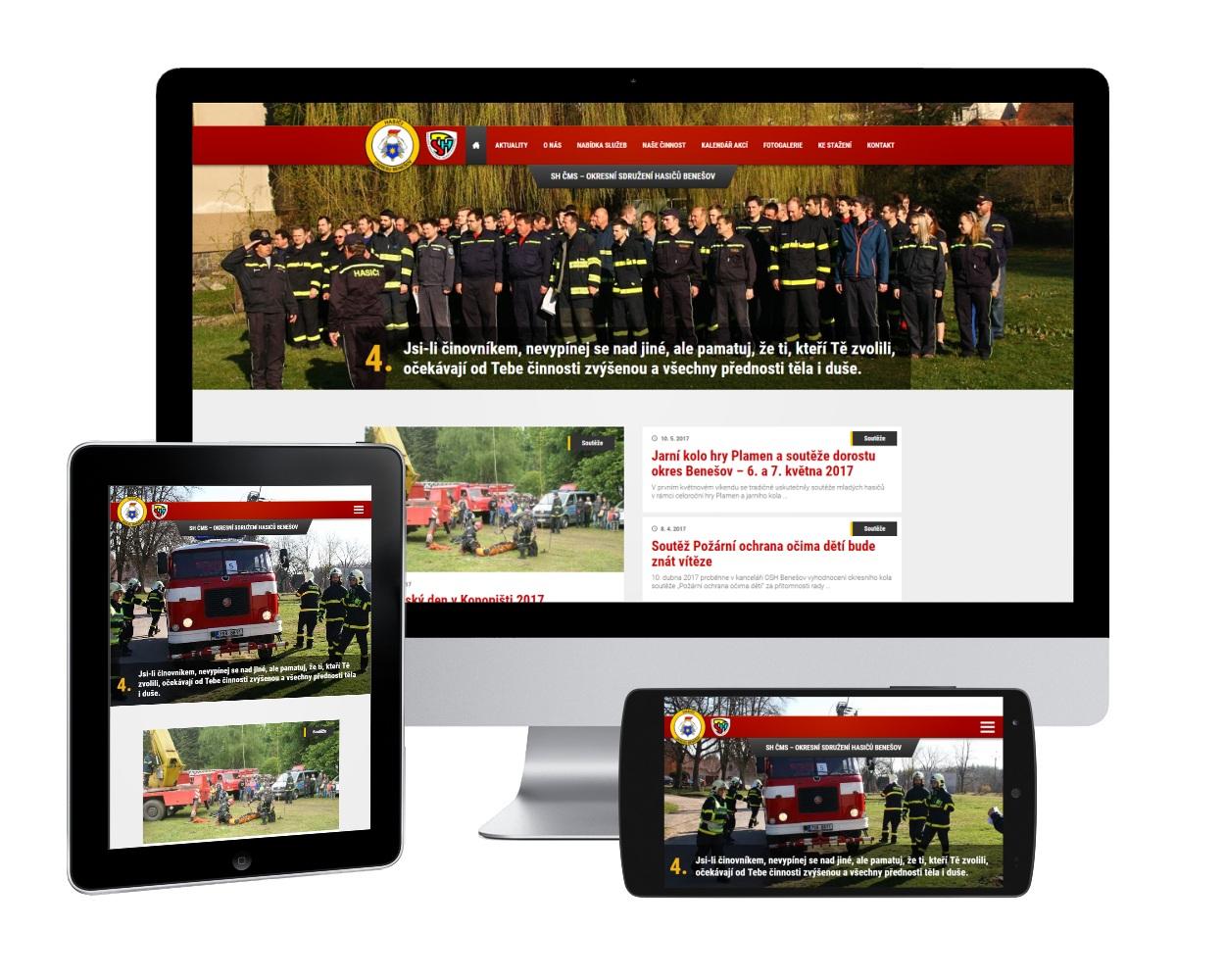 Webové stránky pro Okresní sdružení dobrovolných hasičů okres Benešov