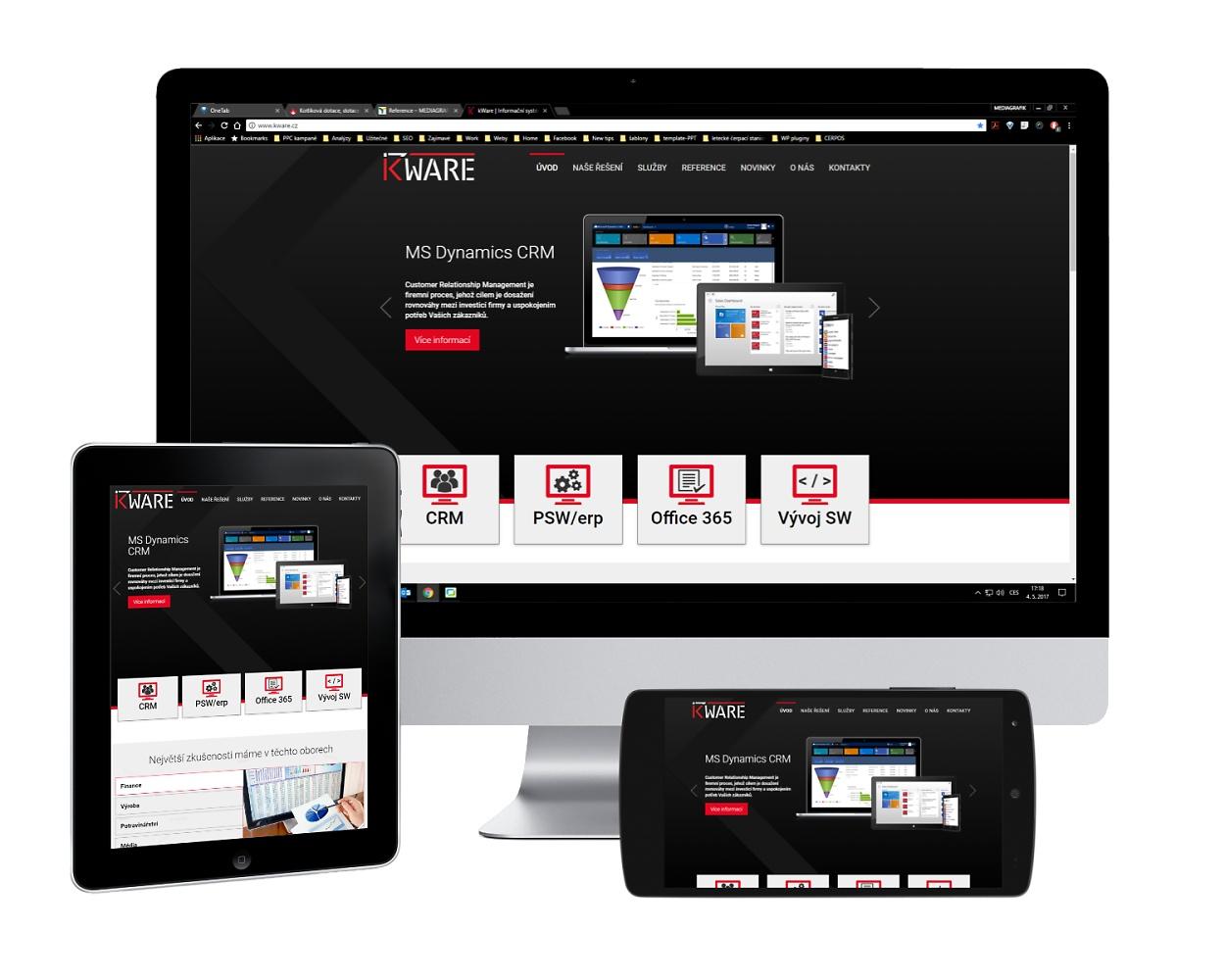 Webové stránky pro firmu kWare, s.r.o. zobrazené v nejčastěji používaných zařízeních