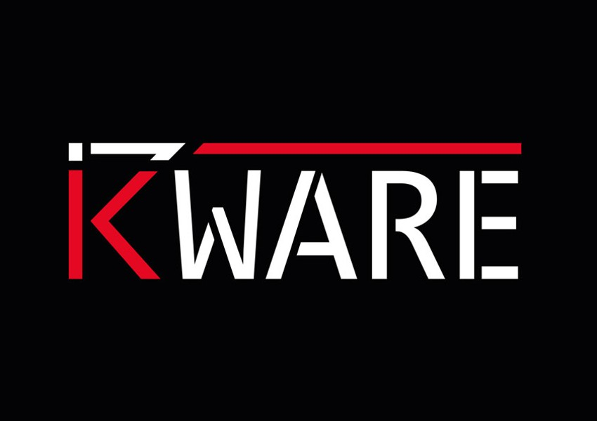 Barevná varianta loga kWare na černém podkladu