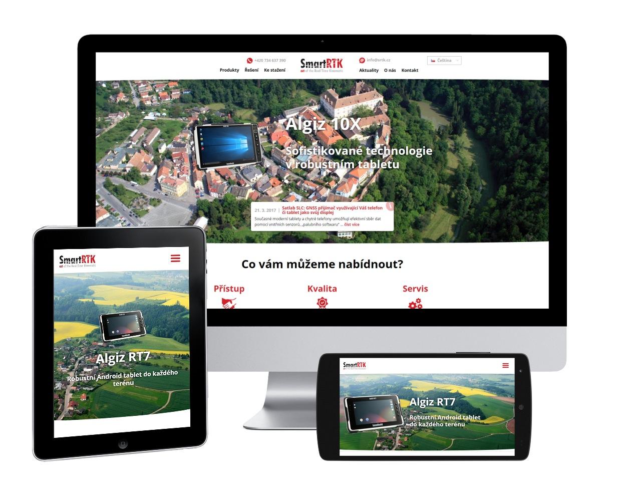 Webové stránky pro firmu Smart RTK je přizpůsobený jak pro PC i mobilní telefon, tak i tablet