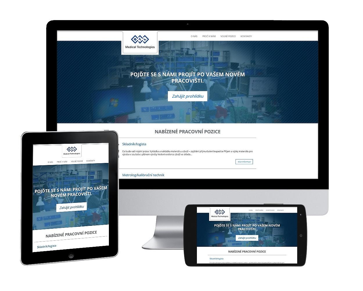 Webové stránky pro volné pracovní pozice benešovské firmy BTL