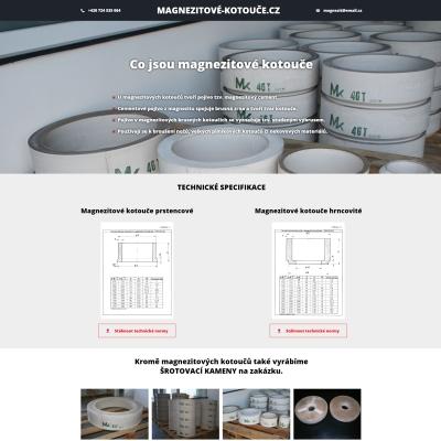 Náhled jednostránkového webu pro výrobu magnezitových kotoučů