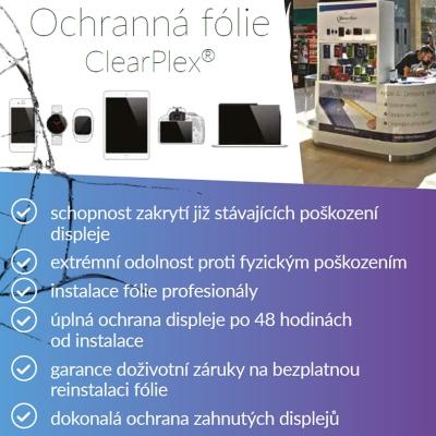 Výřez letáku na ochranné fólie ClearPlex pro firmu iDirection do stánku na Zličíně