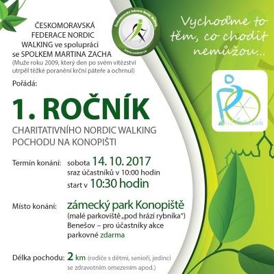 Leták pro Českomoravskou federaci Nordic Walking na 1. ročník charitativního NW pochodu na Konopišti